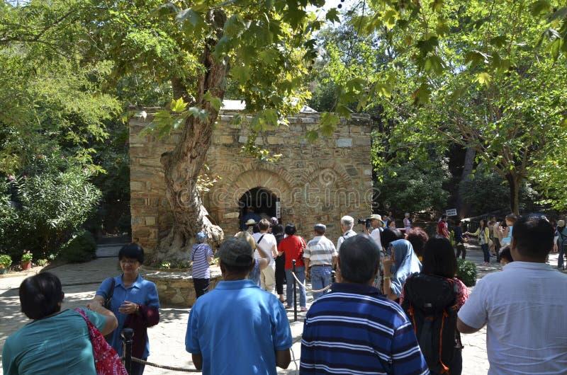 House of Mary Ephesus. The house where John took Mary in Ephesus. (/ˈɛfəsəs/; Greek: Ἔφεσος Ephesos; Turkish: Efes stock photos