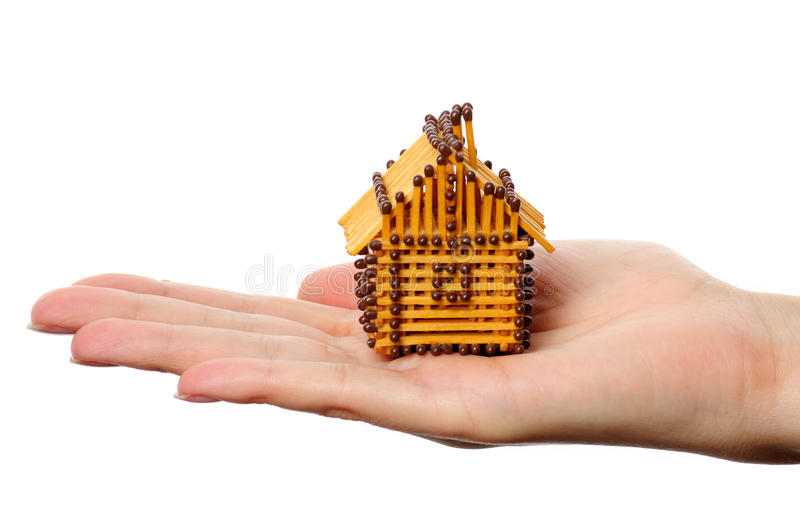 House from matches stock photography