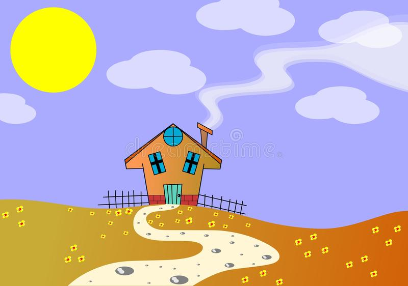 House In A Meadow In A Sunny Day Royalty Free Stock Photography