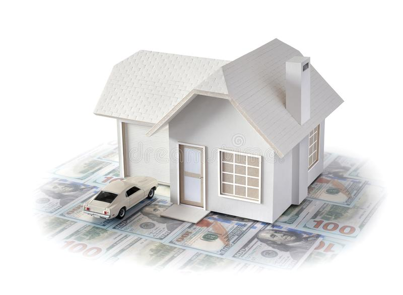 House miniature with car isolated in white background for real estate and construction concepts. House miniature designed and crea. House miniature with white stock images