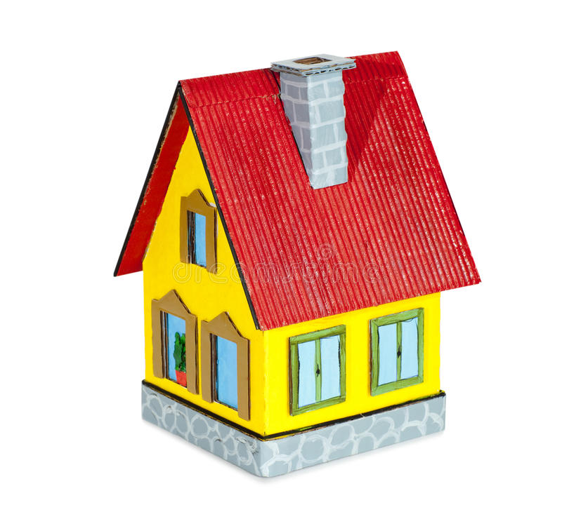 House model. Close-up of toy house model on white background royalty free stock image