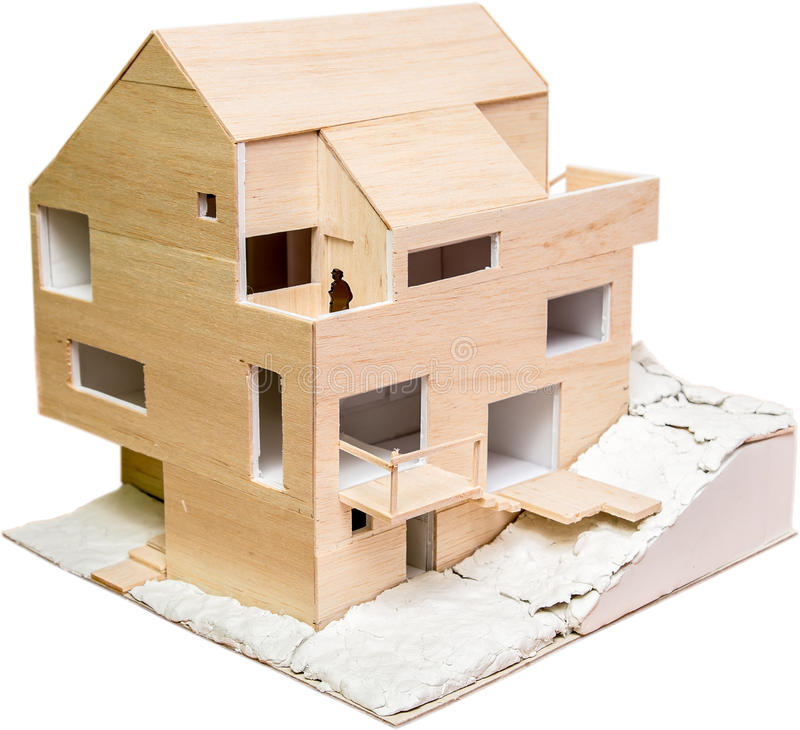 Charming Perspective View Of A House Model (Under Construction) Made From Wood  Isolated On White
