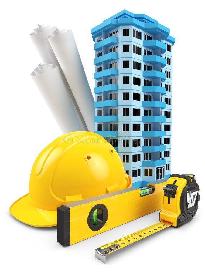 House model, helmet, building level, blueprints and tape measure stock illustration