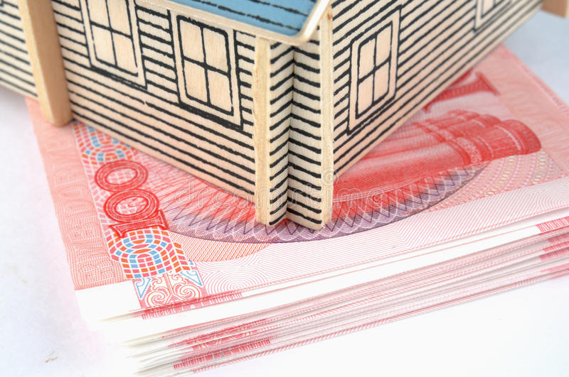 House model put on banknotes stock photo