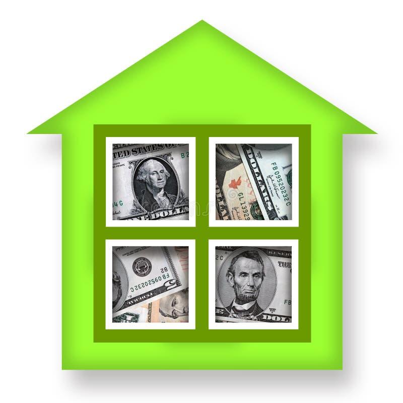 House of Money. Green house full of money over white background
