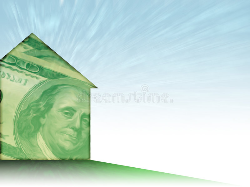 House of Money. Illustration of a house shape painted with a whispy 100 dollar bill - nice background theme for mortgage/realty/finance royalty free illustration