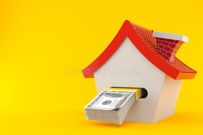 House with money. Isolated on orange background. 3d illustration vector illustration