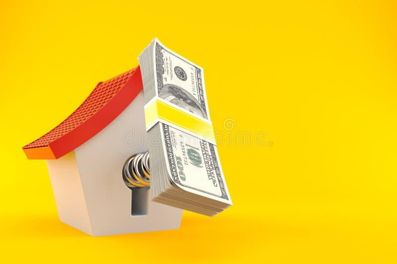 House with money. Isolated on orange background stock illustration