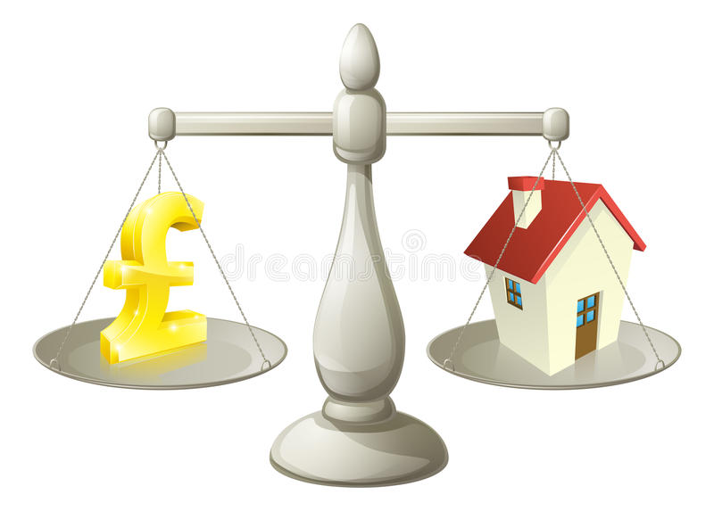 House money pound scales. Concept. Pound sign on one side of a scale and a house on the other. Can have several meanings relating to real estate, savings or royalty free illustration