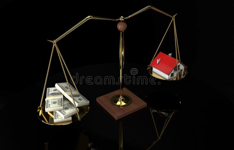 House Money Scale. 3D illustration of House Money Scale stock illustration