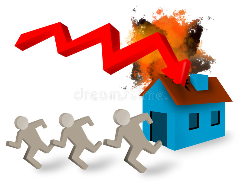 House mortgage crash royalty free stock images