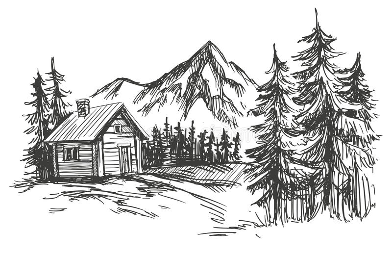 House in mountain landscape hand drawn vector illustration sketch stock illustration
