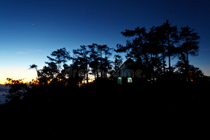 Download House On Mountain At Twilight Stock Image - Image: 29030253