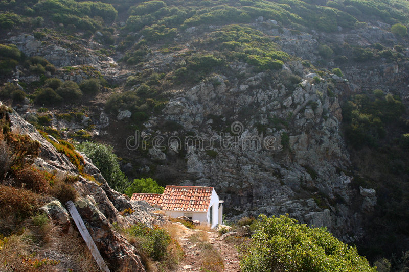 House in mountains. Small house in Portugal mountains stock photo
