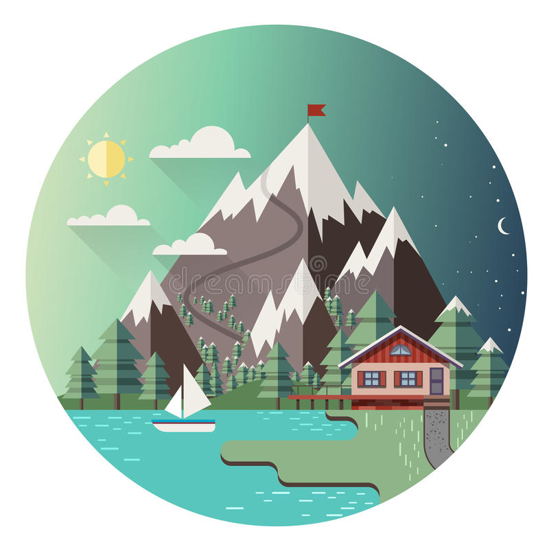 House in mountains. Colorful vector background vector illustration