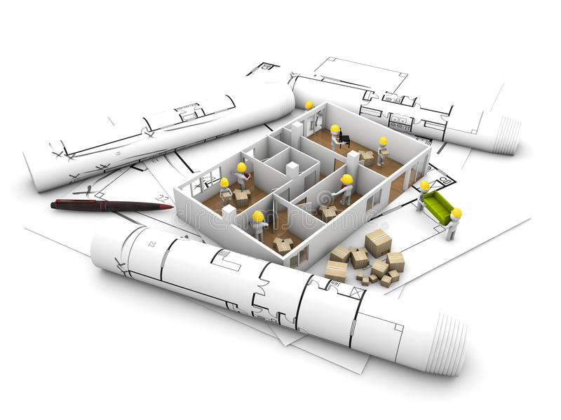 House moving and reform concept. Workers reforming and refurbishing a house over plots and technical draws, isolated on white background royalty free illustration