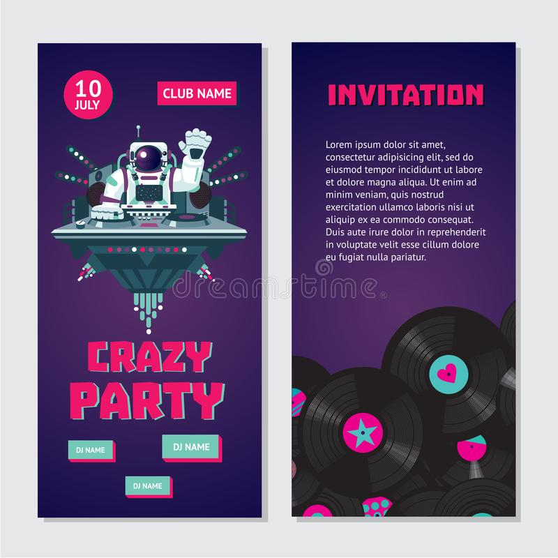 Space astronaut dj. Dance party bilateral invitation for nightclub with vinyl record. House music fest. vector illustration