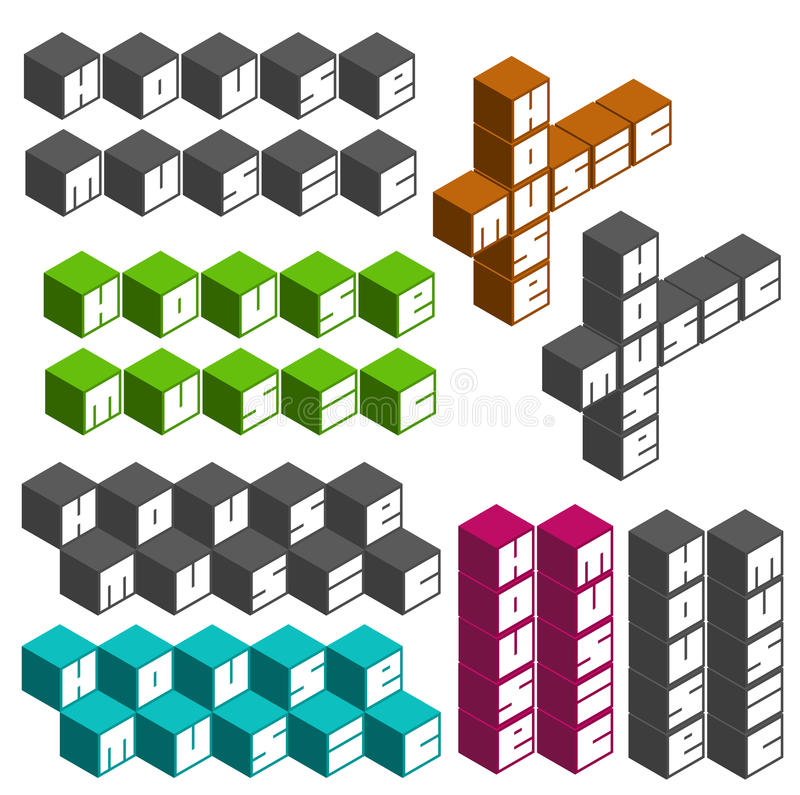 House music party cubic square fonts in different colors. House music cubic square fonts in different colors stock illustration