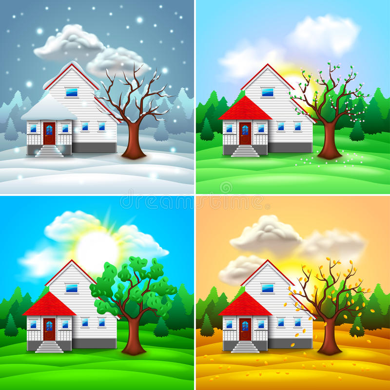 House and nature four seasons vector royalty free stock photography