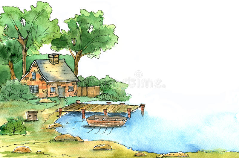 House near the lake. Watercolor illustration. royalty free illustration