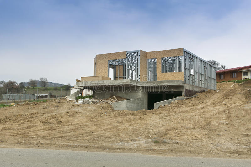 House new construction. Under natural light stock image
