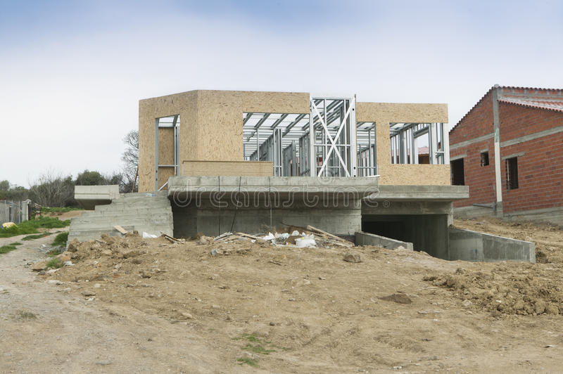 House new construction. Under natural light stock images