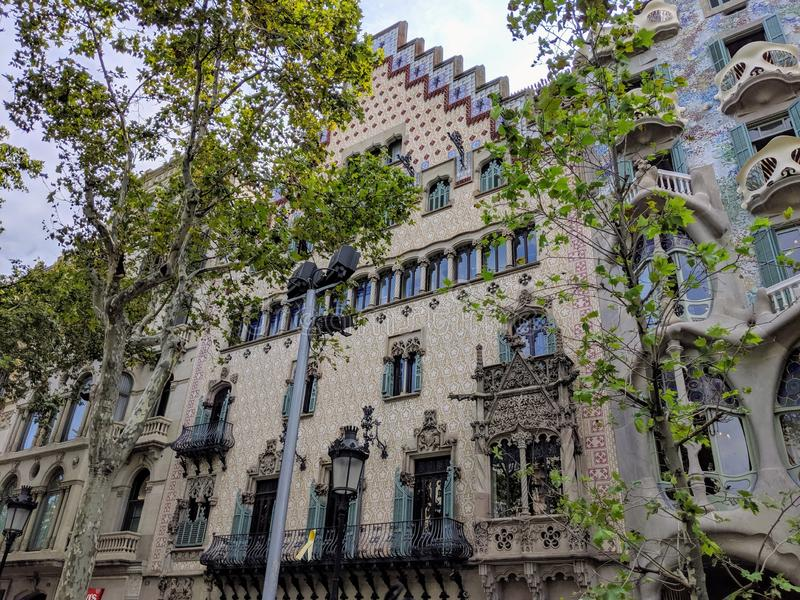 House next to Casa Batllo in Barcelona, Spain. Historical house next to Casa Batllo in Barcelona. Photo taken on: August, 2019 stock photography