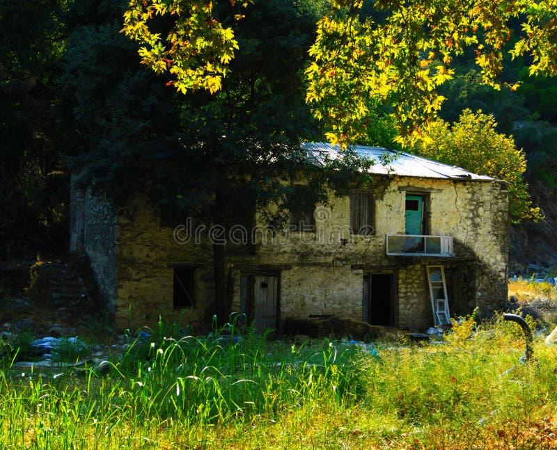 House. Nidri waterfalls in Lefkada ionian island in Greece stock photo