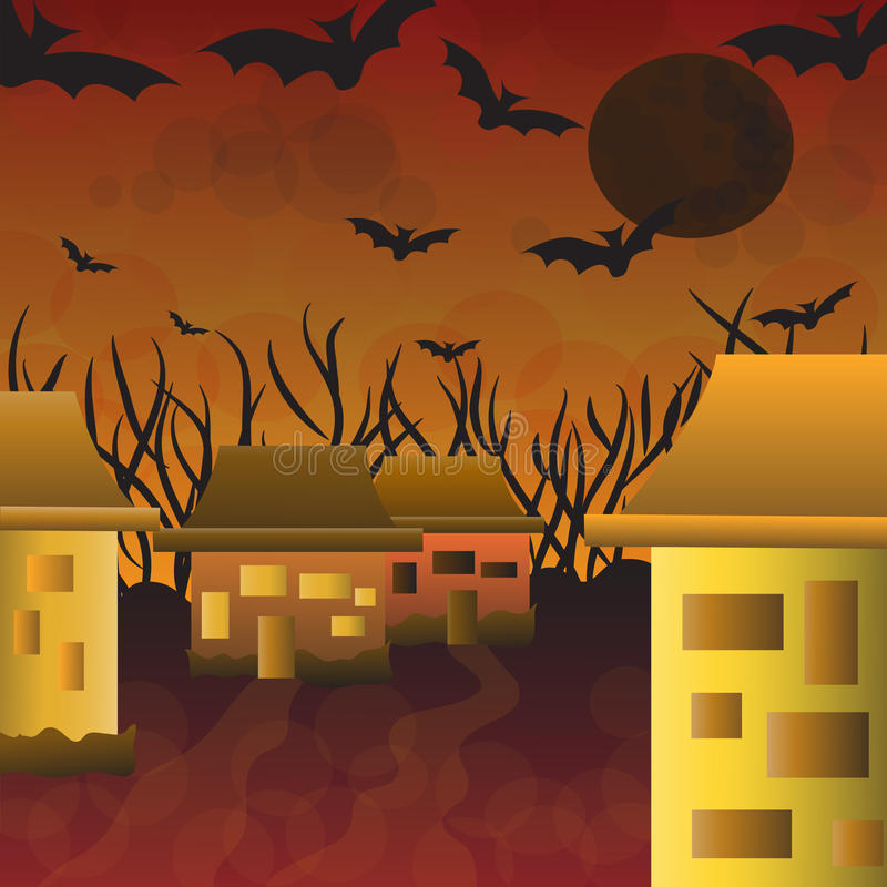 House at night in Halloween stock photography