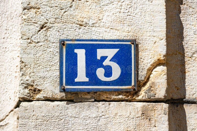 House number 13 royaltyfri fotografi