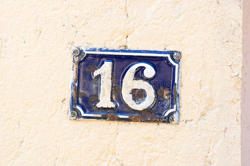 House Number 16 stock photos
