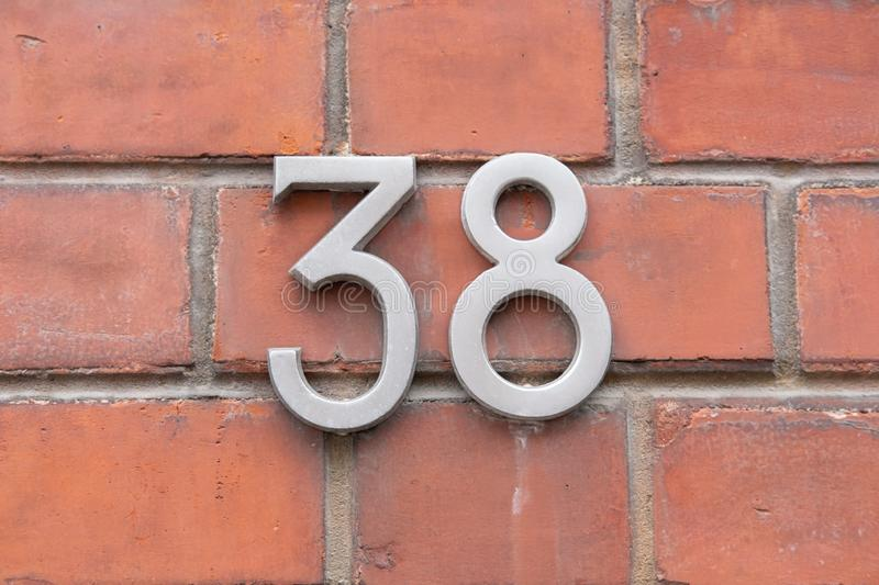 House Number 38 stock photo