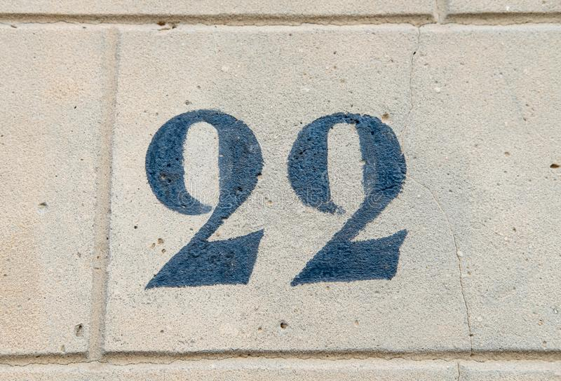 House Number 22 stock photography