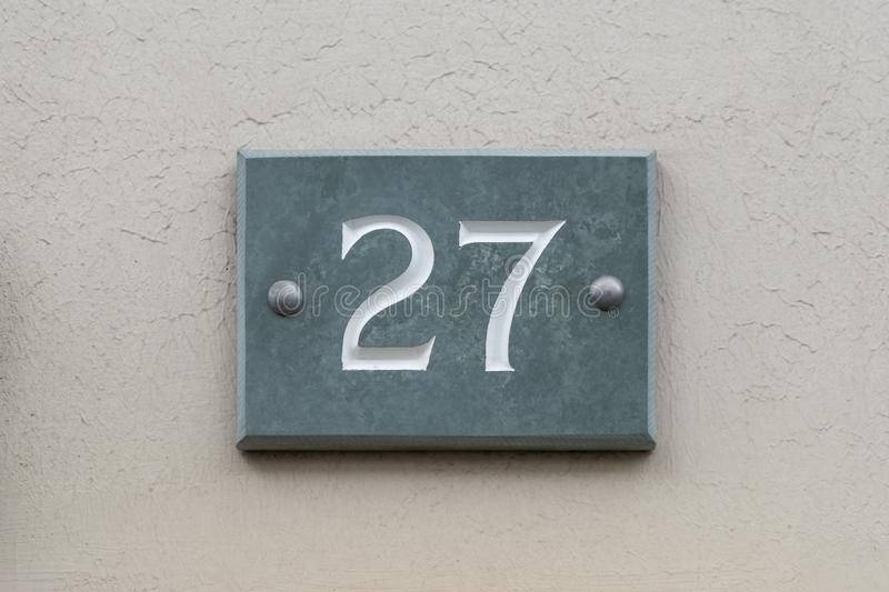 House Number 27 stock photos