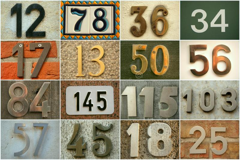 House numbers. In different styles and colors (concept for real estate stock image