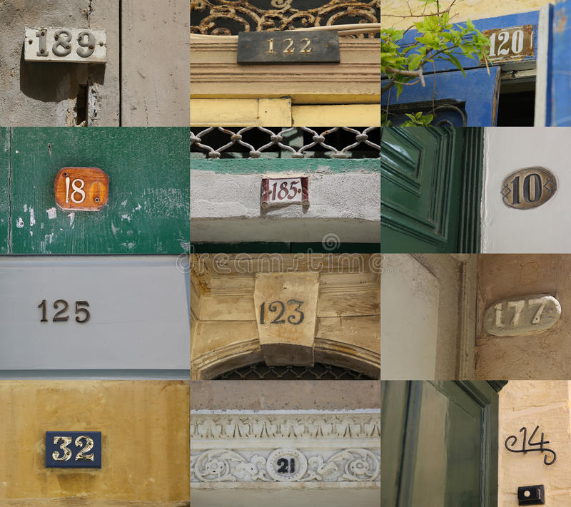 House numbers. In different styles and colors, Valletta, Malta (concept for real estate&#x29 royalty free stock photos