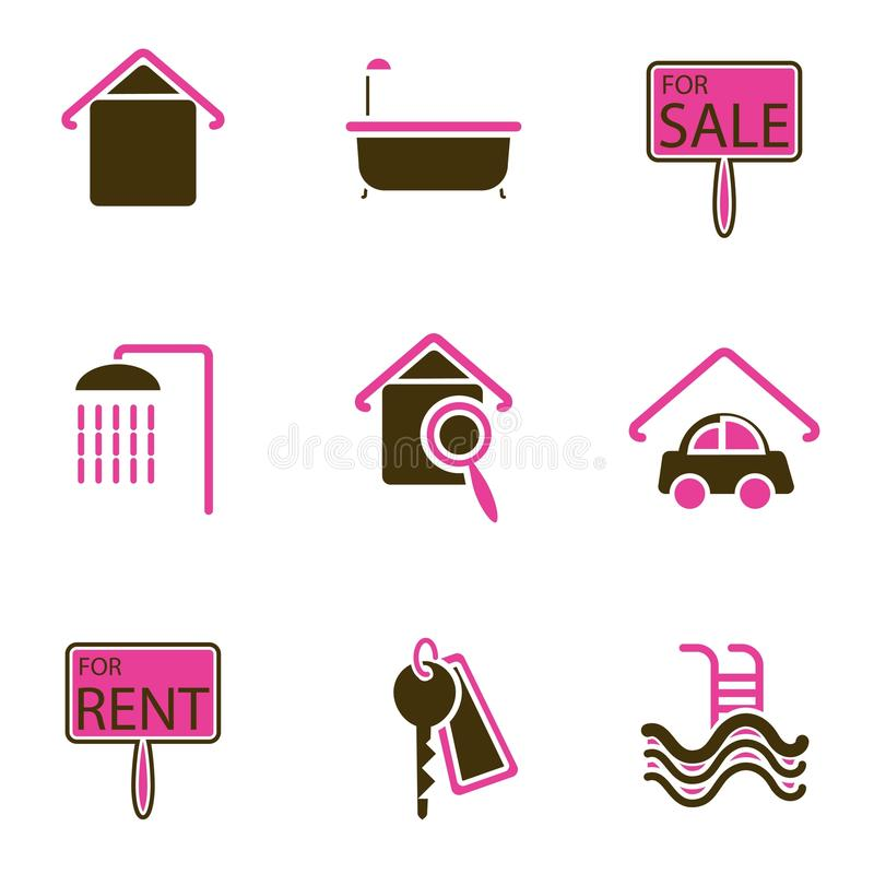 House Object Icon Set Royalty Free Stock Photo