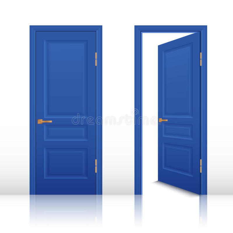 Open And Closed Doors : House open and closed door set stock vector illustration