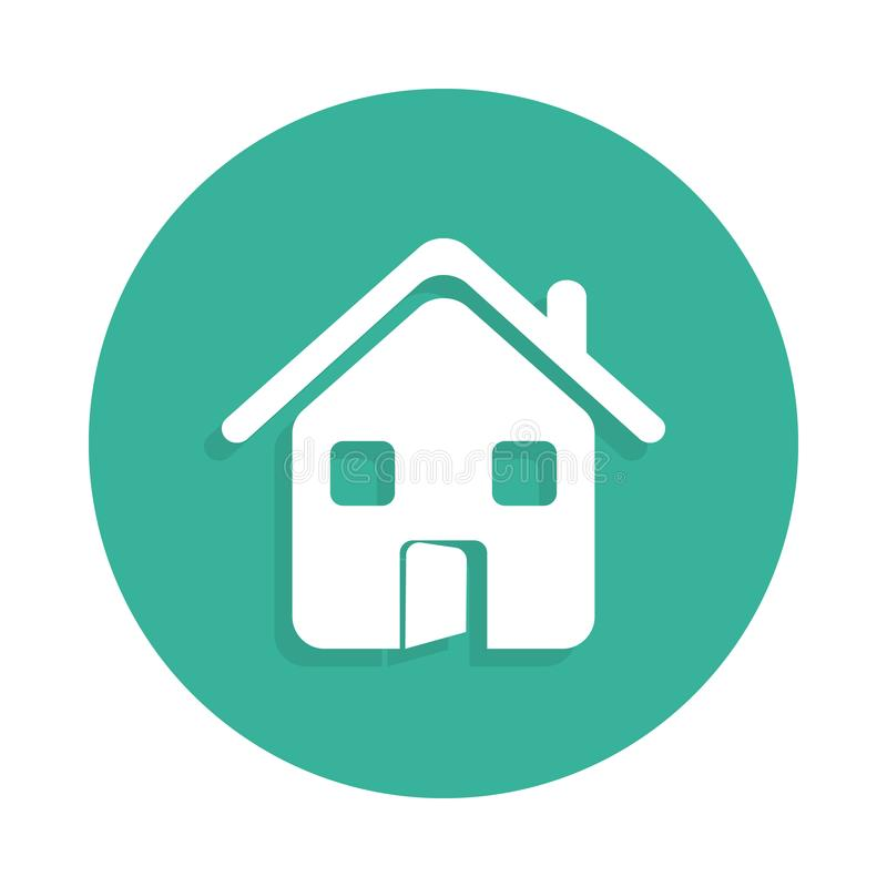 House with an open door icon in Badge style with shadow. On white background stock illustration