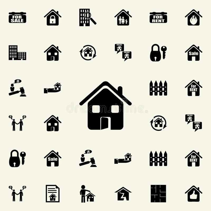 House with an open door icon. Real estate icons universal set for web and mobile. On dark gradient background vector illustration