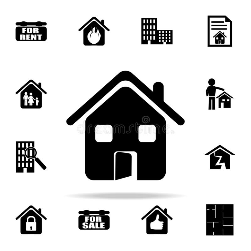 House with an open door icon. Real estate icons universal set for web and mobile. On white background royalty free illustration