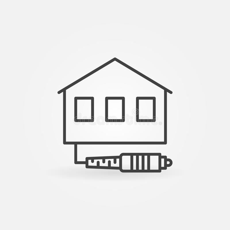 House with Optic Cable vector icon in thin line style stock illustration