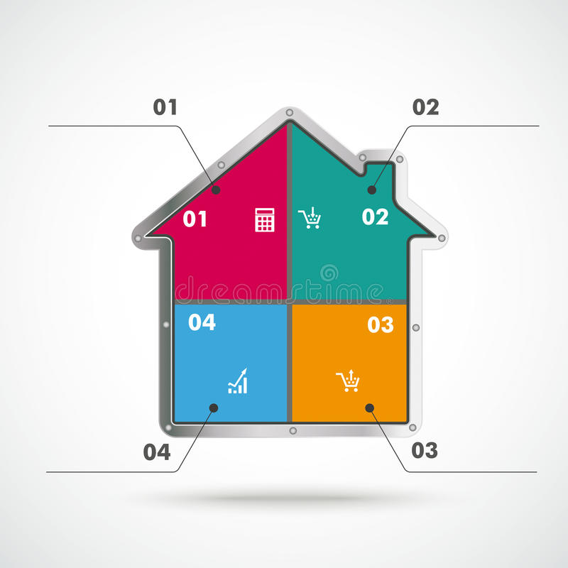 House 4 Options Infographic. Infographic with house on the white background royalty free illustration