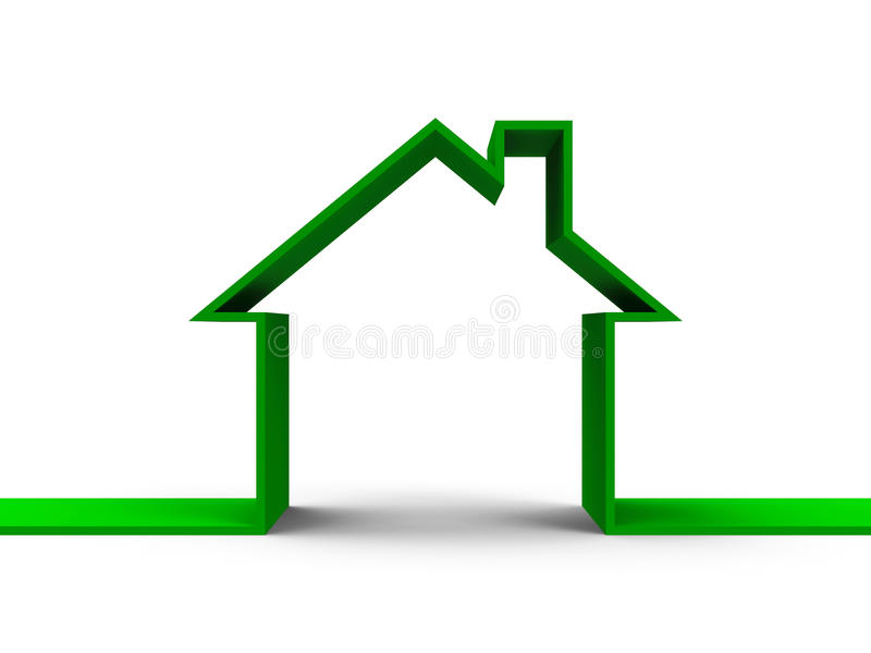 House outline concept. Green house outline concept, three-dimensional rendering