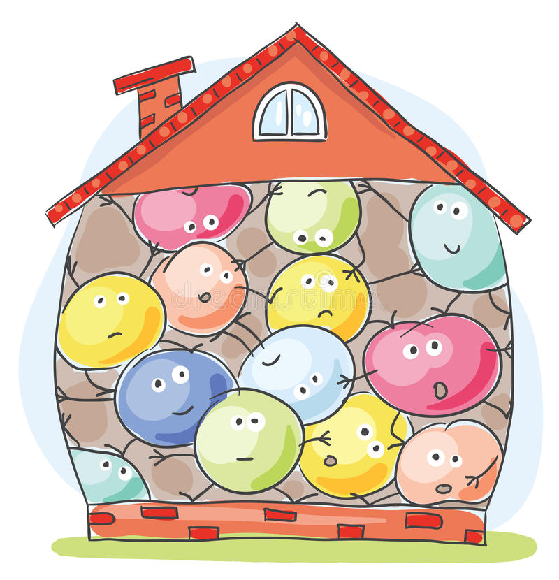 House overcrowded by unhappy inhabitants vector illustration