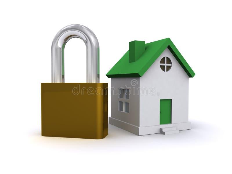 House and padlock. Illustration of modern house with padlock; isolated on white background stock illustration