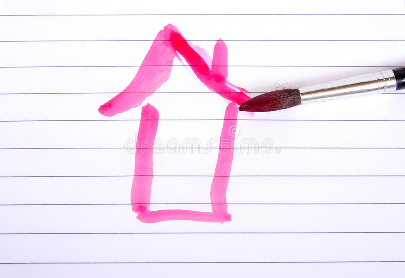 House paint. Brushes pencils colorful royalty free stock photo