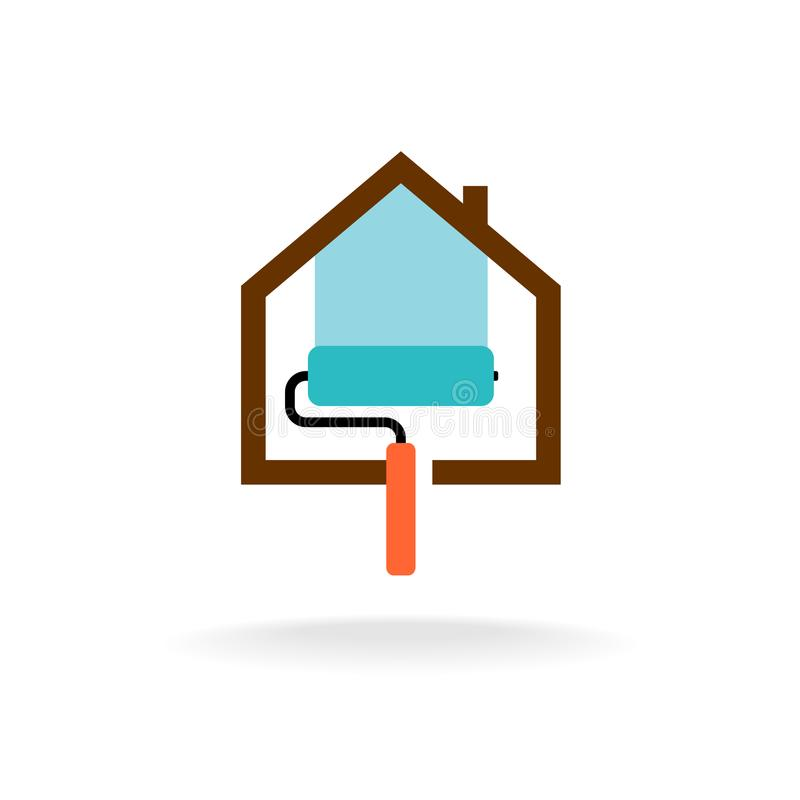 House paint service flat icon royalty free illustration