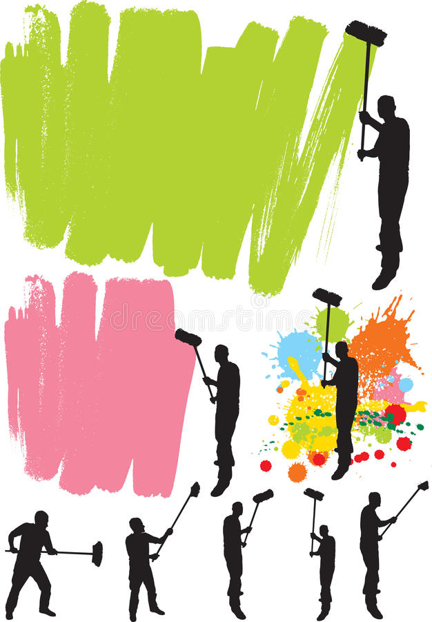 House painter. Silhouettes and alternative brushes royalty free illustration