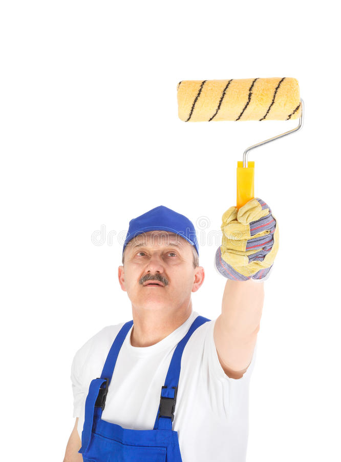 House painter is painting invisible wall royalty free stock photos